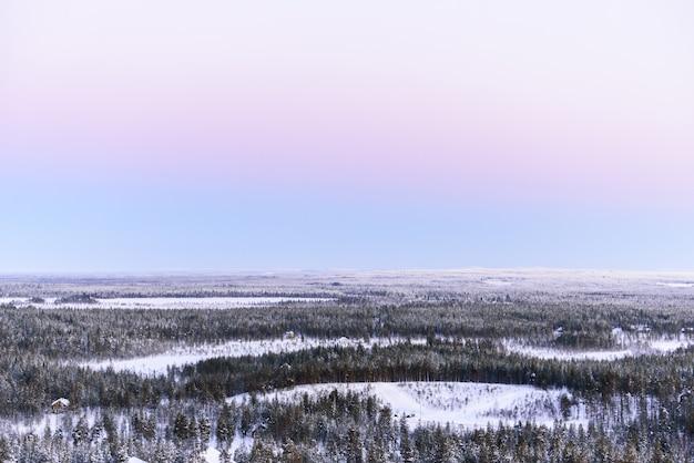 Winterlandschap bedekt met zware sneeuw