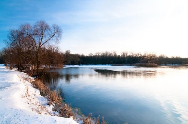 Winterlandschap, blauwe lucht en fel zonlicht, oever van meer bedekt met sneeuw, bomen groeien aan de horizon