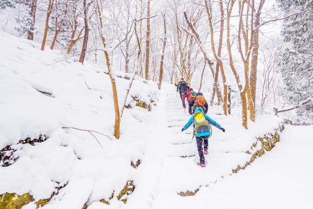 Winterlandschap in de bergen met dalende sneeuw en wandelaar trekking foto, zuid-korea