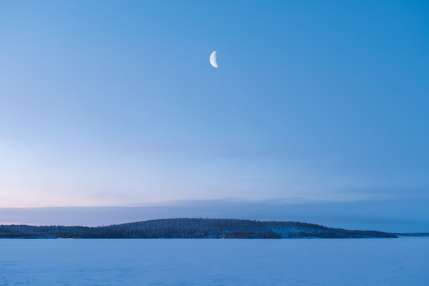 Winterlandschap in rusland. nieuwe maan die over bos toeneemt