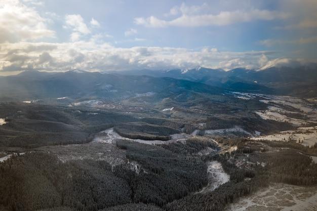 Winterlandschap met sparren van besneeuwde bossen in koude bergen.
