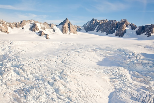 Winterlandschap mountain cook, nieuw-zeeland