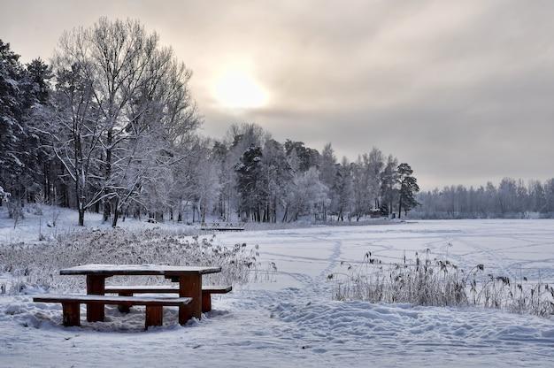 Wintermeer en bos met bank en tafel in de sneeuw.