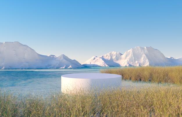 Winters tafereel met een podium en uitzicht op het meer