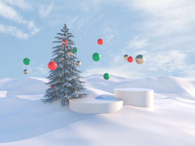 Winters tafereel met kerstboom en podia