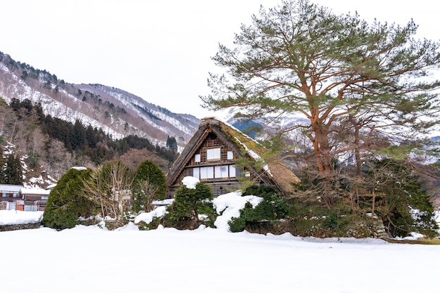 Winterseizoen in shirakawa-go village, gifu, japan