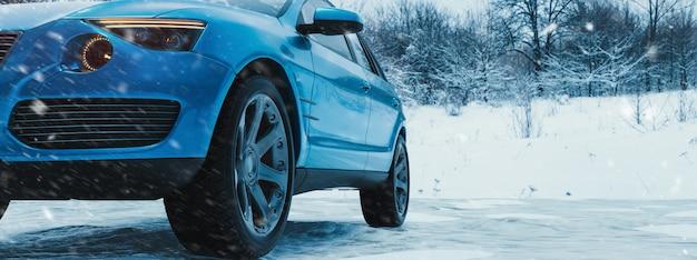 Wintertijd en auto in sneeuw.