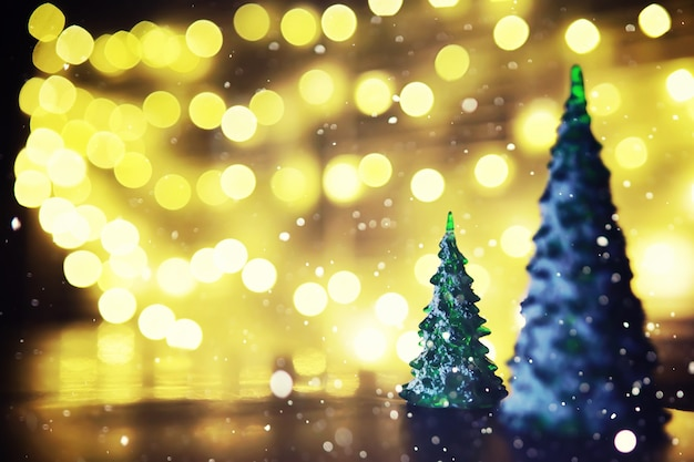 Wintervakantie achtergrond met bevroren spar, glitter verlichting, bokeh. kerstmis en nieuwjaar vakantie achtergrond met kopie ruimte.