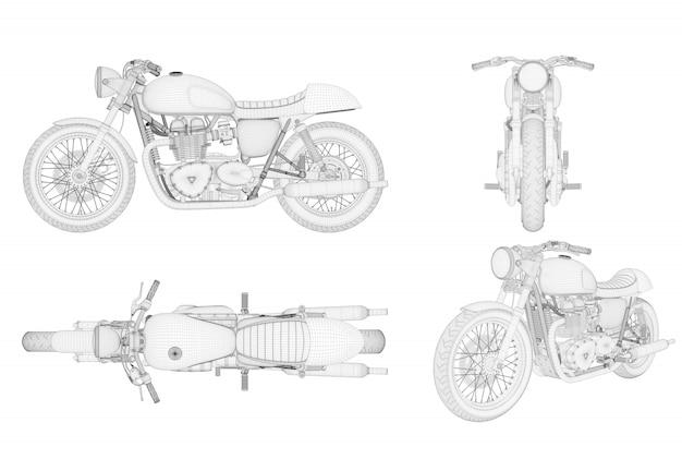 Wireframe generieke en merkloze motorfiets in vier weergave