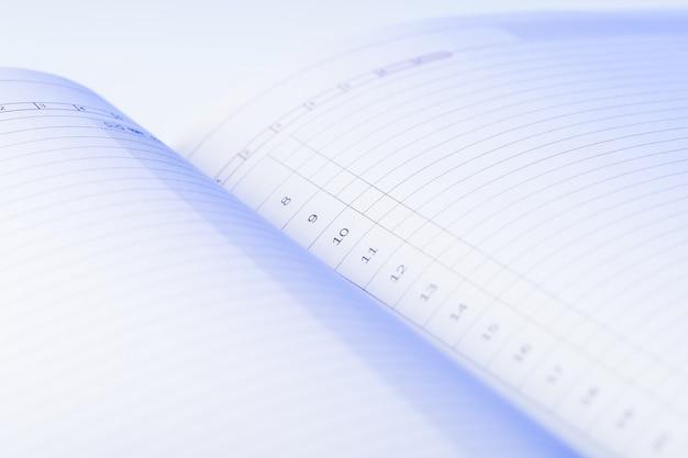 Wis pagina's uit ongedateerd dagboek. blauw licht valt op de genummerde lijnen van de dagelijkse planner. te doen lijst.