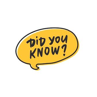 Wist je dat tag in cartoon gele tekstballon