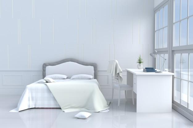 Wit bed kamer decor bed, bureau, kussen, cement muur .3d weergave.