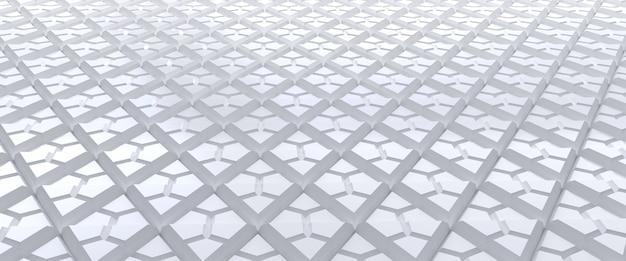 Wit betegelde driehoekige abstracte achtergrond. geëxtrudeerd driehoekenoppervlak. 3d render.