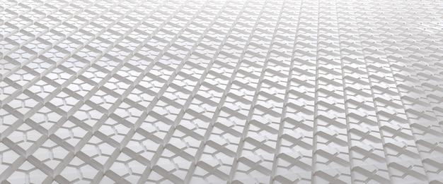Wit betegelde driehoekige abstracte achtergrond. geëxtrudeerd driehoekenoppervlak.