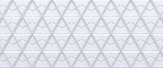 Wit betegelde driehoekige abstracte geometrische achtergrond. geëxtrudeerd driehoekenoppervlak. 3d render.