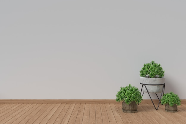 Wit binnenlands ontwerp met installaties op een vloer