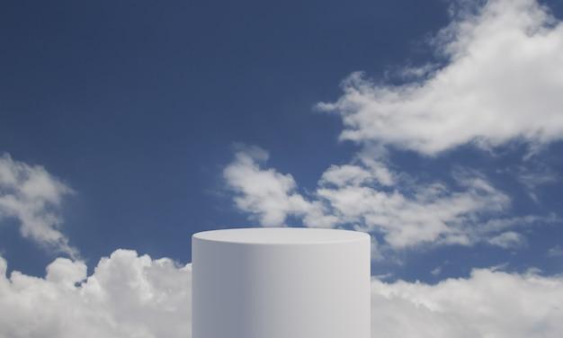 Wit cilinderproductpodium met de pluizige achtergrond van de wolkenhemel