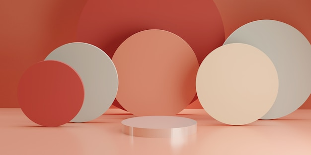 Wit cilindrisch podium met meerdere cilindervormen op roze kamer