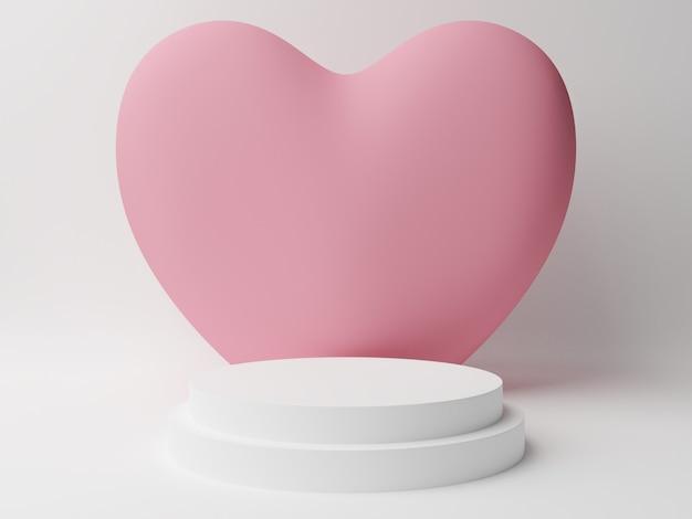 Wit cirkelpodium met roze pastelkleurhart met witte lijst. valentijnsdag concept. 3d-rendering illustratie