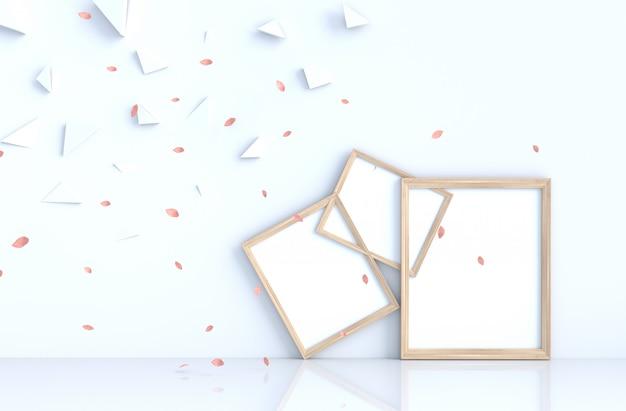 Wit decor als achtergrond met omlijsting en blaas roze bladeren.
