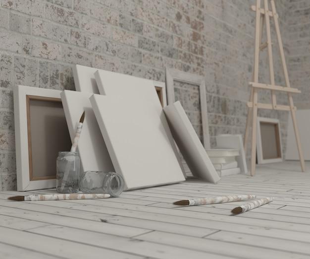 Wit doek met een schildersezel