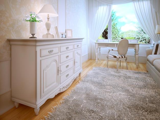 Wit dressoir in klassieke slaapkamer