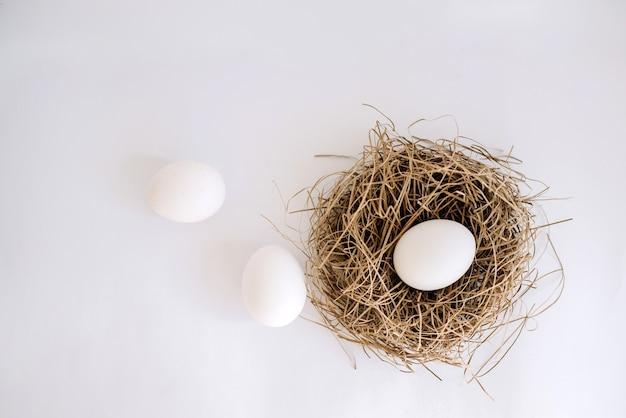 Wit ei in een nest en twee witte eieren