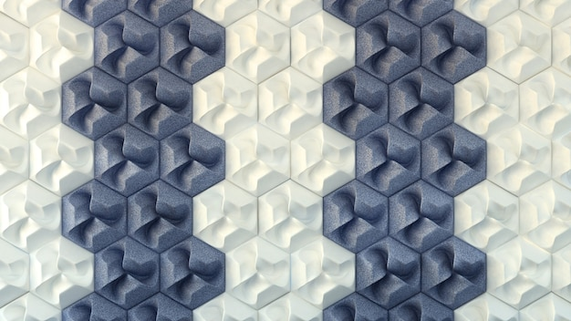 Wit en blauw interieur textuur, naadloze patroon. 3d-afbeelding, 3d-rendering.