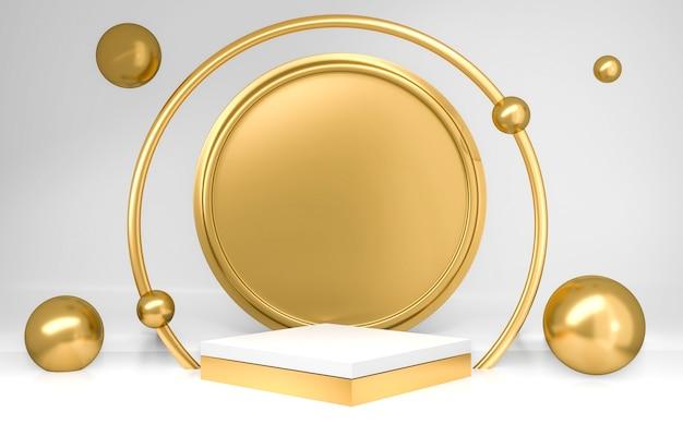 Wit en goud cilinderpodium met bollen op grijze achtergrond