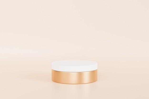 Wit en gouden podium of voetstuk voor producten op beige achtergrond, minimale 3d illustratie render