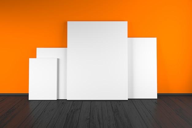 Wit frame mockup. minimaal wit frame op houten vloer. 3d-illustraties.