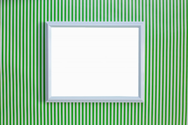 Wit frame op een groen en wit gestreepte achtergrond