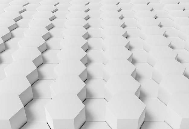 Wit geometrisch behang met zeshoekige vormen