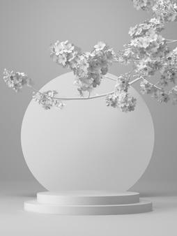 Wit geometrisch podium en kersenbloesem witte achtergrond voor productpresentatie 3d-rendering