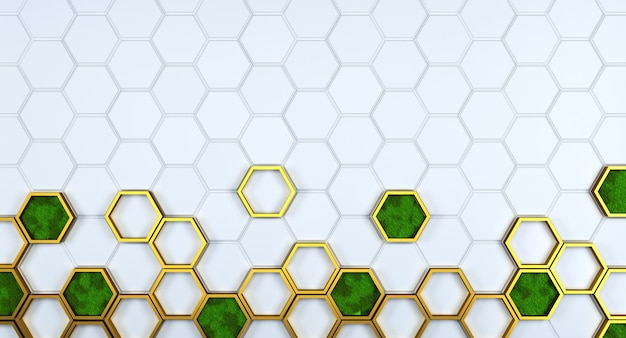 Wit honingraatrooster met gouden elemnts en scandinavisch mos