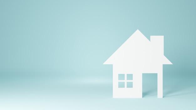 Wit huis geïsoleerd. 3d rendering illustratie.