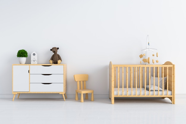 Wit kinderkamer interieur voor mockup