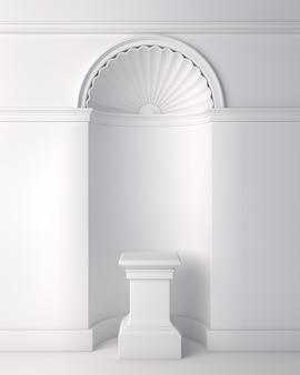 Wit klassiek voetstukpodium voor productweergave mock-up, 3d-weergave