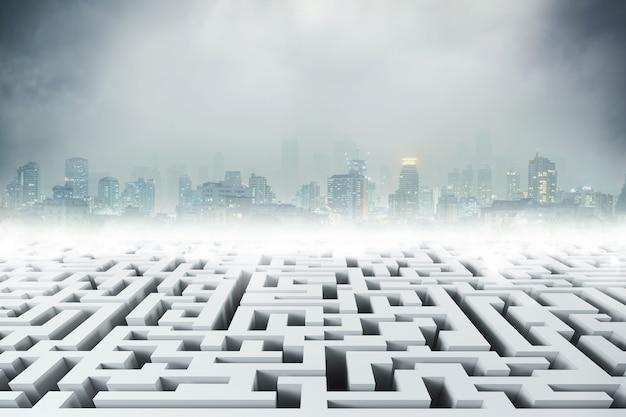 Wit labyrint met een stad op de achtergrond