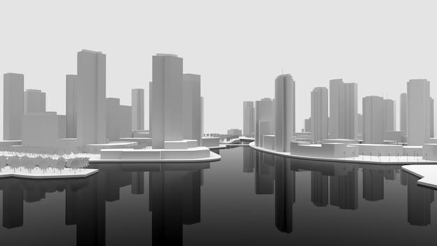 Wit leeg model van een stad gebouwd aan het water