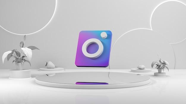 Wit leeg podium. het voetstuk van het podium. instagram-pictogram in het midden van de weergave