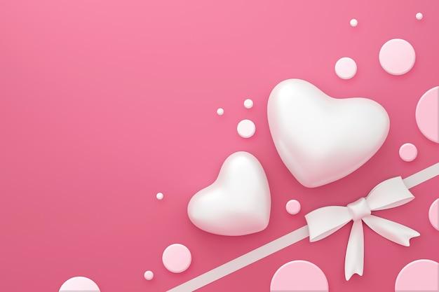Wit lint op de roze achtergrond van de giftdoos met gelukkig valentijnskaartfestival of het concept van het stippenpatroon. 3d-weergave