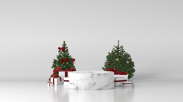 Wit marmeren cilinderpodium met kerstversiering