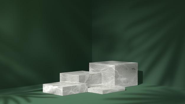 Wit marmeren doospodium voor productplaatsing op de achtergrond van schaduwbladeren