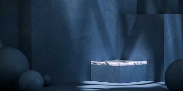 Wit marmeren platform op blauwe mockupscène. abstracte achtergrond voor productpresentatie of advertenties. 3d-rendering