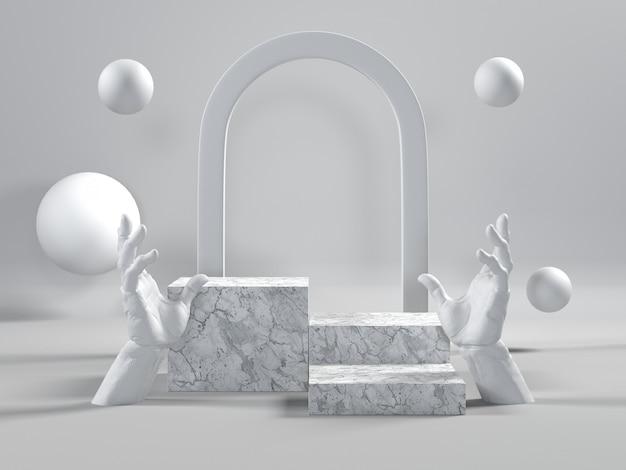 Wit marmeren podium luxe scene voor cosmetica of een ander product.