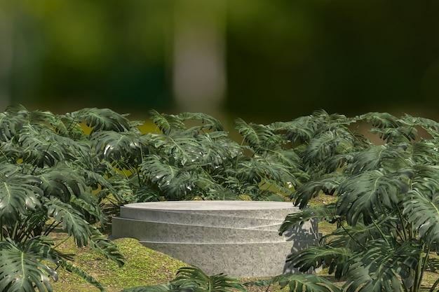 Wit marmeren podium met planten