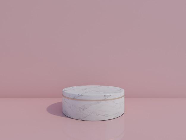 Wit marmeren podium op roze achtergrond 3d-rendering
