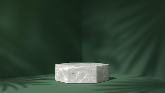 Wit marmeren zeshoekig podium voor productplaatsing op de achtergrond van schaduwbladeren
