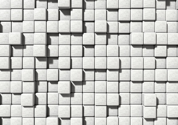 Wit metselwerk cement blok en stenen achtergrond. architectuur en abstract concept. bovenaanzicht hoek. 3d illustratie weergave